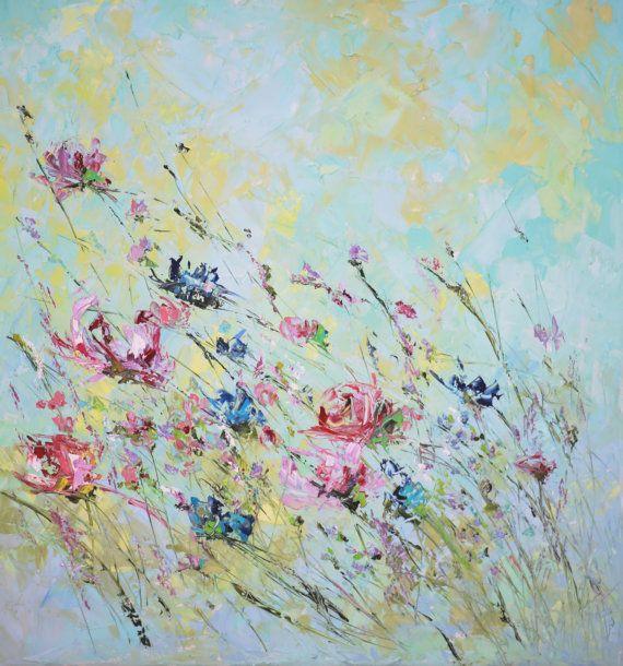 Original peinture à lhuile couteau Turquoise lilas rose foncé