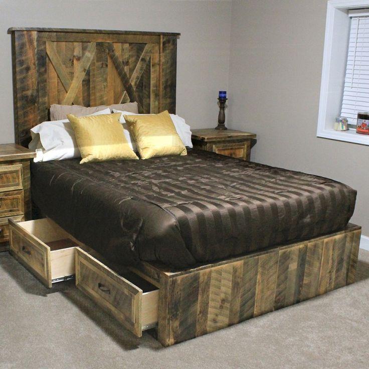 Rural root legend barnwood platform bed wood platform bed platform beds and barn wood - Platform bed frame australia ...
