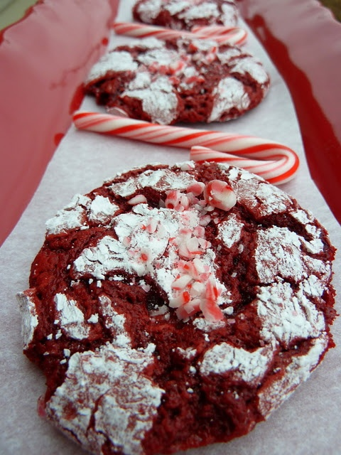 Red velvet peppermint crinkle cookies.