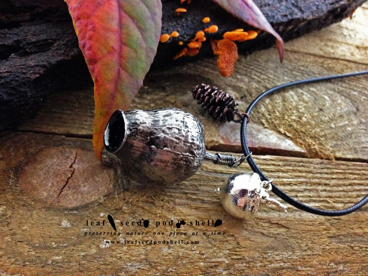 Australian native gum nut in antique silver, tiny cone in antique copper and a bright silver acorn.  Available from www.leafseedpodshell.com #leafseedpodshell #leafseedpodshelljewelry #birdhouse #leaves #leaf #acorn #acorns #seeds #pods #shells #copper #electroform #electroforming #electroformed #electroplated #electroplating #crystal #crystals #rustic #plating #jewelry #jewellery #pendant #pendants #handmade #handmadejewelry