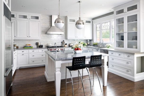White Kitchen Grey Countertop helpful to visualize caesarstone perimeter and island of stone