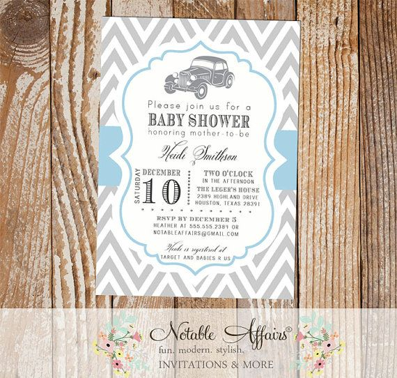 Gray and Baby Blue Chevron Vintage Car Baby Shower or Birthday Invitation  - mode of transportation shower party by NotableAffairs