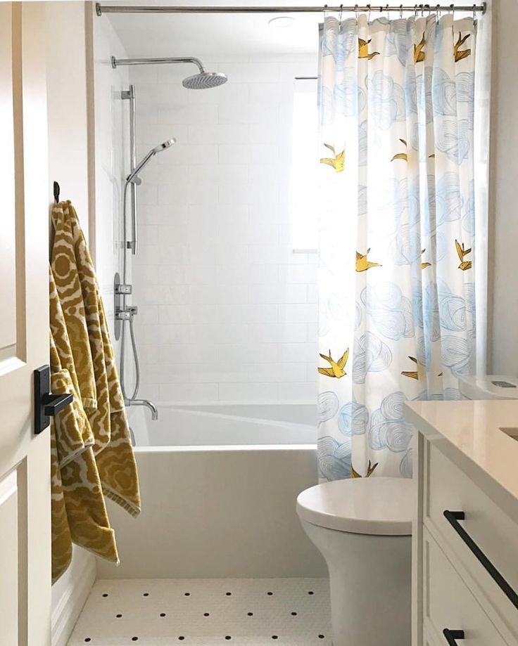 Sunny Touch Of Pattern In The Bathroom Thanks To This Daydream Sunshine Shower Curtain
