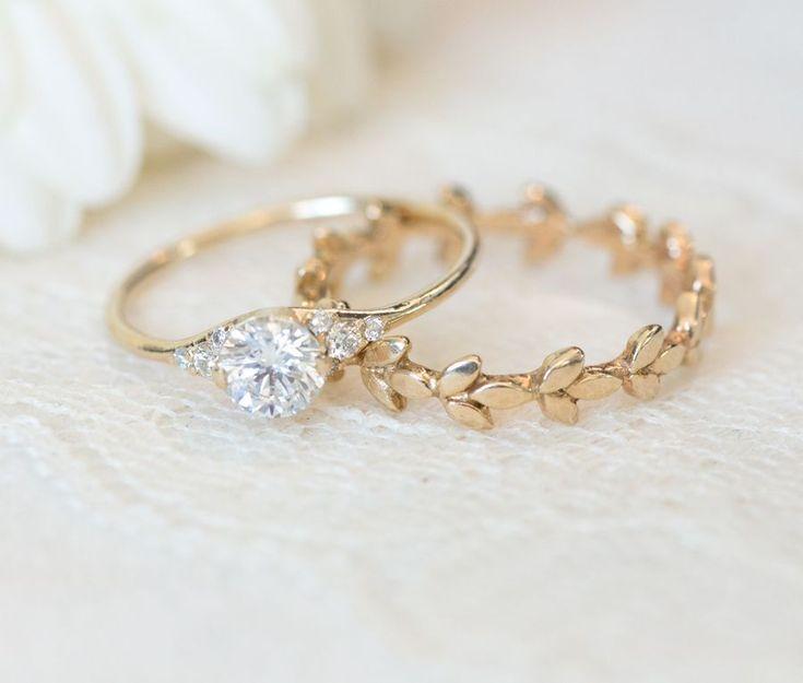 Diamond Engagement Ring and Yellow Gold Vine Wedding Band.
