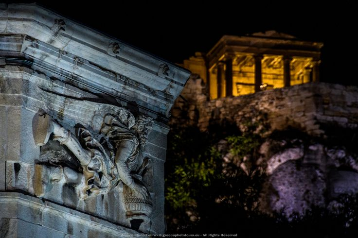 """The Tower of Winds,  in the Roman Agora in Athens that functioned as an horologion or """"timepiece"""" in the background is #Parthenon a former temple, on the #Athenian #Acropolis in #athens #greece"""