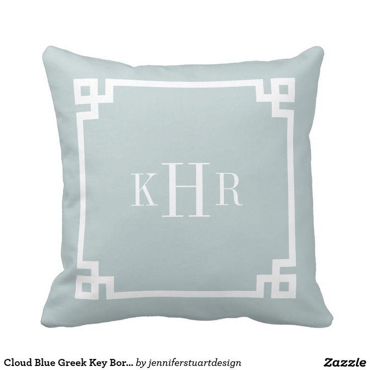 Cloud Blue Greek Key Border Custom Monogram Pillow