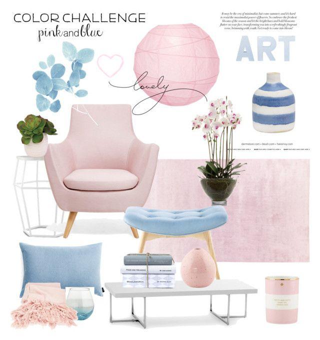 """""""Pink & Blue"""" by rever-de-paris ❤ liked on Polyvore featuring interior, interiors, interior design, home, home decor, interior decorating, EMAC & LAWTON, Cultural Intrigue, GreenGate and Kate Spade"""