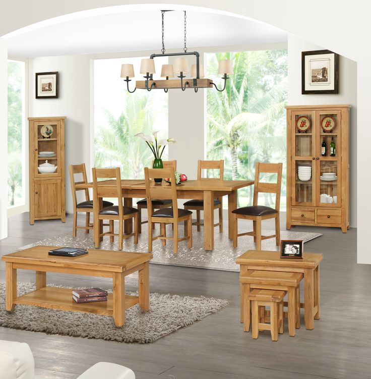 Otago Oak Coffee Table Nest Of Tables Display Cabinet And Dining Room