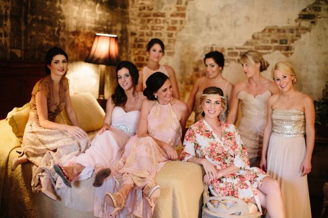 Bride & Bridesmaids getting wedding-day ready in the Carriage House Accommodations at The William Aiken House | Photo by Paige Winn