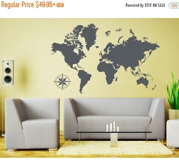 20% Off   New Year Sale   Detailed World Map Wall Decal, Sticker, Part 94