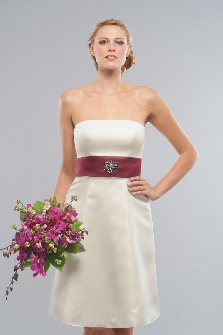 Strapless A -line satin bridesmaid dress