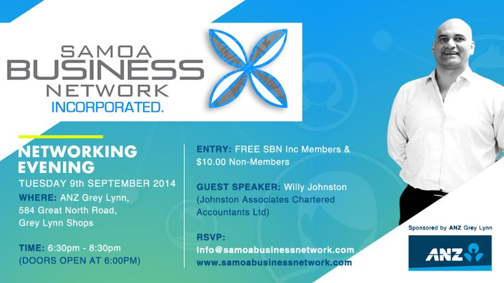 SBN Sept Networking Evening Banner - Samoa Business Network Inc #NewZealand www.samoabsuinessnetwork.com