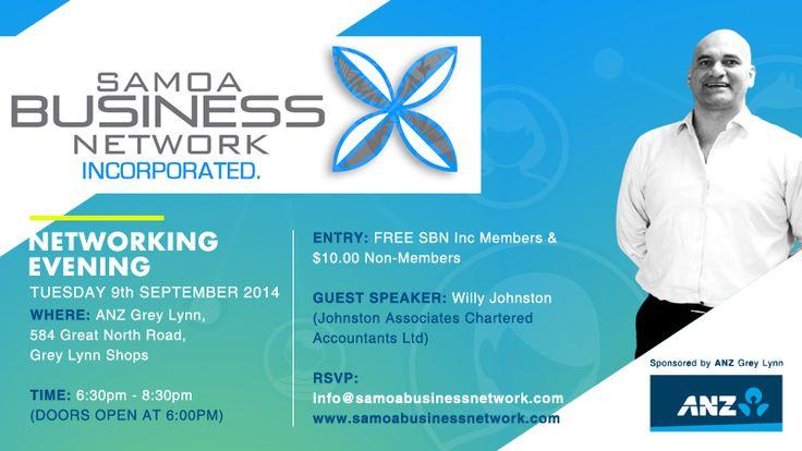 SBN Sept Networking Evening Banner - Samoa Business Network Inc #NewZealand www.samoabsuinessnetwork.com