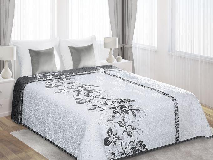 Białe dwustronne narzuty na łóżko w stalowe kwiaty