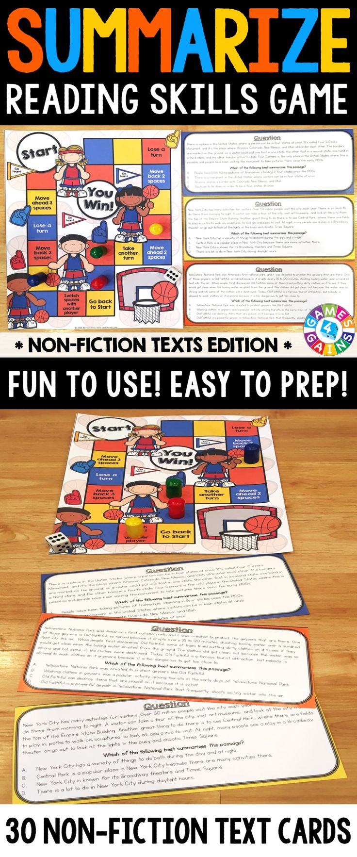 "Summarizing (Non-Fiction) Board Game contains 30 game cards and a game board to help students practice summarizing informational text. Each card contains a short non-fiction paragraph followed by the question, ""Which of the following best summarizes the passage?"". Students have to select the correct answer from four possible choices."