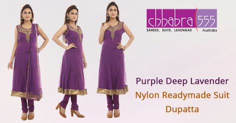 Visit ‪Chhabra555‬ online store and select Purple Deep Lavender Nylon  Readymade ‪‎Suit Dupatta‬ @ $164.95 AUD in ‪‎Australia‬. For Bulk orders at special prices write to us at customercare@chhabra555com.au or call us at 1800 289 555