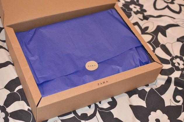 I know this will come as a surprise to no one, but seriously, I love Zara. I mean, look how nicely they pack even a small order: A box! I love boxes. And t