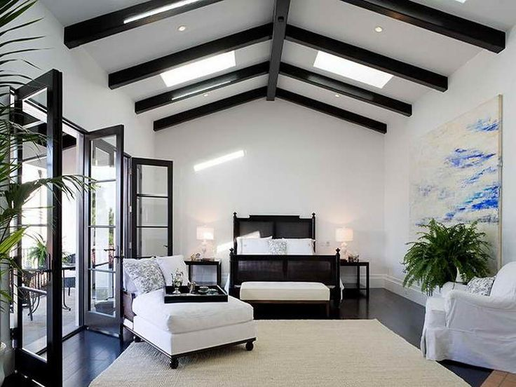 White Black Stained Wood ]Exposed Beam Ceiling