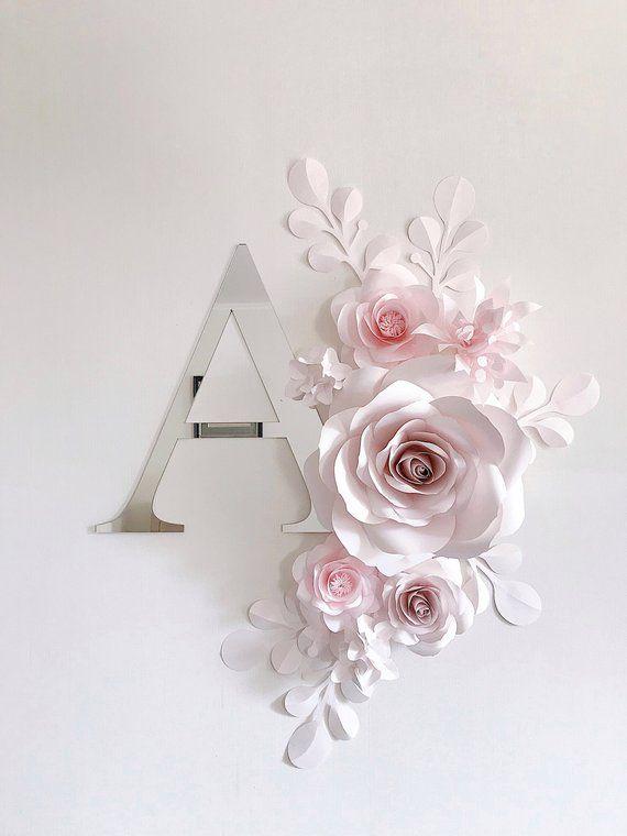 Soft Pink Paper Flower Wall Decor Nursery Wall Decor Paper