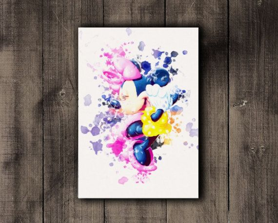 Printable Minnie Mouse Disney Watercolor Print by CoffeeLoffe