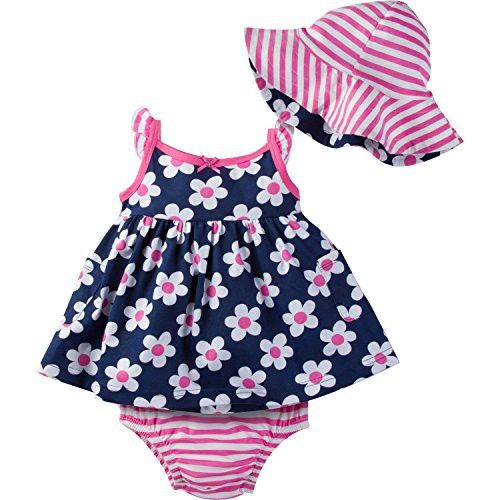Gerber Baby Girls' Sundress, Bloomer and Hat Set, Daisies, 12 Months