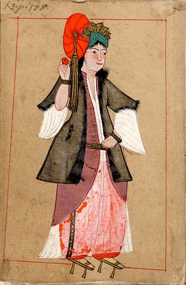 Woman in bathing pattens (shoes) called nalin. The 'Rålamb Costume Book' is a small volume containing 121 miniatures in Indian ink with gouache and some gilding, displaying Turkish officials, occupations and folk types. They were acquired in Constantinople in 1657-58 by Claes Rålamb who led a Swedish embassy to the Sublime Porte, and arrived in the Swedish Royal Library / Manuscript Department in 1886.
