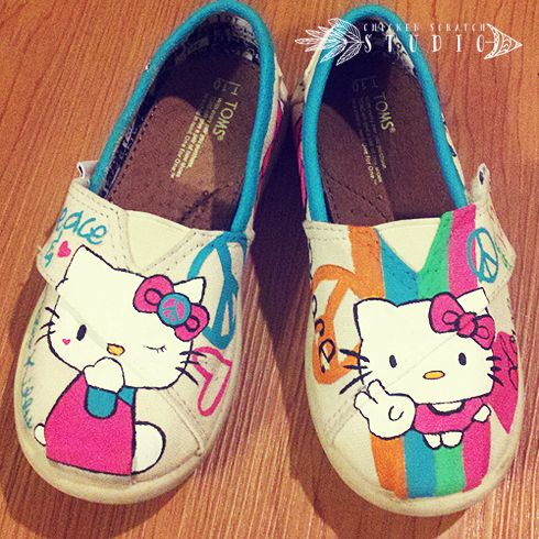 Kids Custom Hand Painted Canvas TOMS Shoes - Peace Hello Kitty