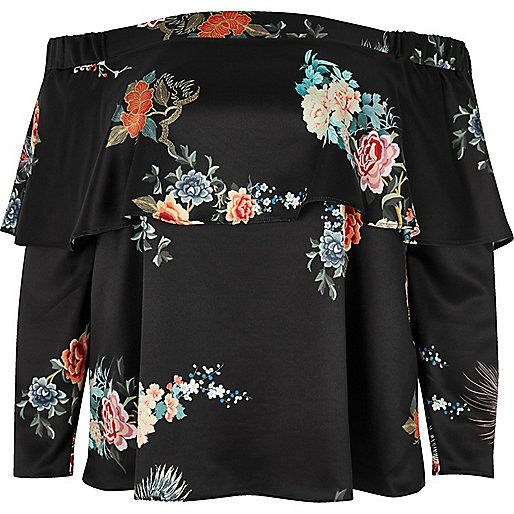 Plus black print deep frill bardot top - bardot / cold shoulder tops - tops - women