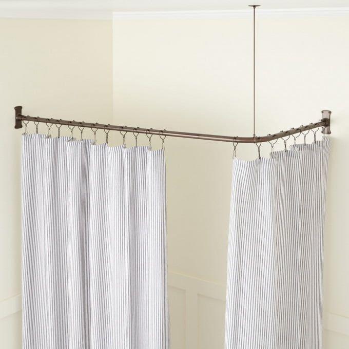 D Shaped Brass Solid Brass Shower Curtain Rod Bathroom