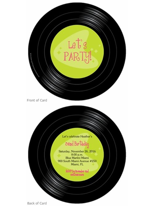 Vinyl Record Birthday Invitation Storkie Com Adult