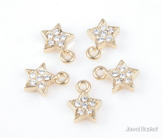 CG010-P (5pcs) / O Ring Star Cubic Pendant / 9.5mm x 7mm  - Highly Polished Gold Plating Color (Tarnish Resistant) - Brass / 9.5mm x 7mm - 5pcs /1 pack