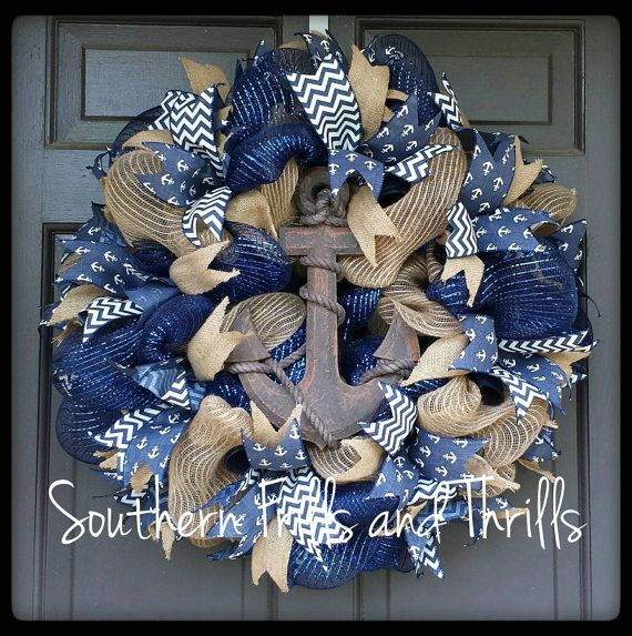 Check out this item in my Etsy shop https://www.etsy.com/listing/223673899/deco-mesh-wreath-anchor-wreath-nautical