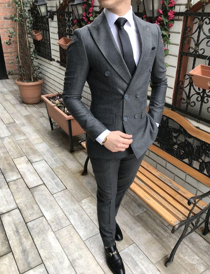 6a0ce676d6d5c Terziademaltun - İtalyan stil slim fit ceket pantolon koyu gri kruvaze takım  elbise T3152 (1)