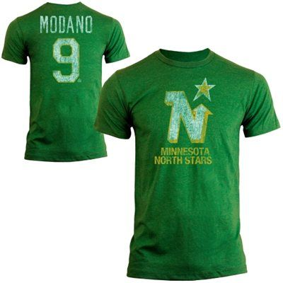 Old Time Hockey Mike Modano Minnesota North Stars Alumni Player Vintage Heathered T-Shirt - Green