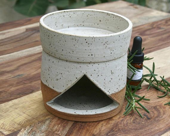 rustic oil burner EO diffuser speckled stoneware minimal