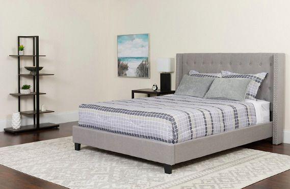 Riverdale King Size Tufted Upholstered Platform Bed Frame Light