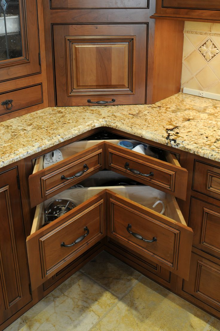 Kitchen Cabinet Storage Ideas Inspiration Kitchen Magnificent White Mosaic  Granite Countertop With Chocolate Corner Kitchen Cabinets And Pull Out  Drawer ...