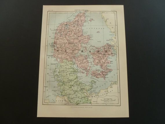 1877 DENMARK old map of Denmark  antique by DecorativePrints