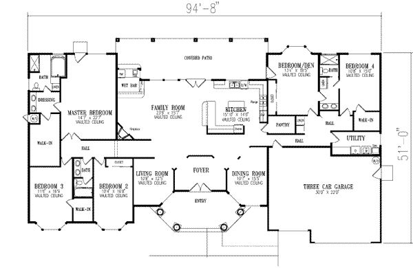 I could play with this floor plan to get all 4 kids bedrooms on same side of house. 1 Story, 5 Bedroom and 3 Bath, 3 Garage Stalls by Monster House Plans - Plan 41-1133