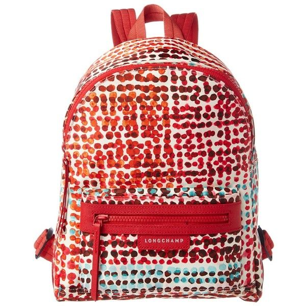 Longchamp Le Pliage Neo Fantaisie Polka Small Nylon Backpack (5.645 CZK) ❤ liked on Polyvore featuring bags, backpacks, handbags, red, nylon backpacks, longchamp bag, longchamp rucksack, red backpack and day pack backpack