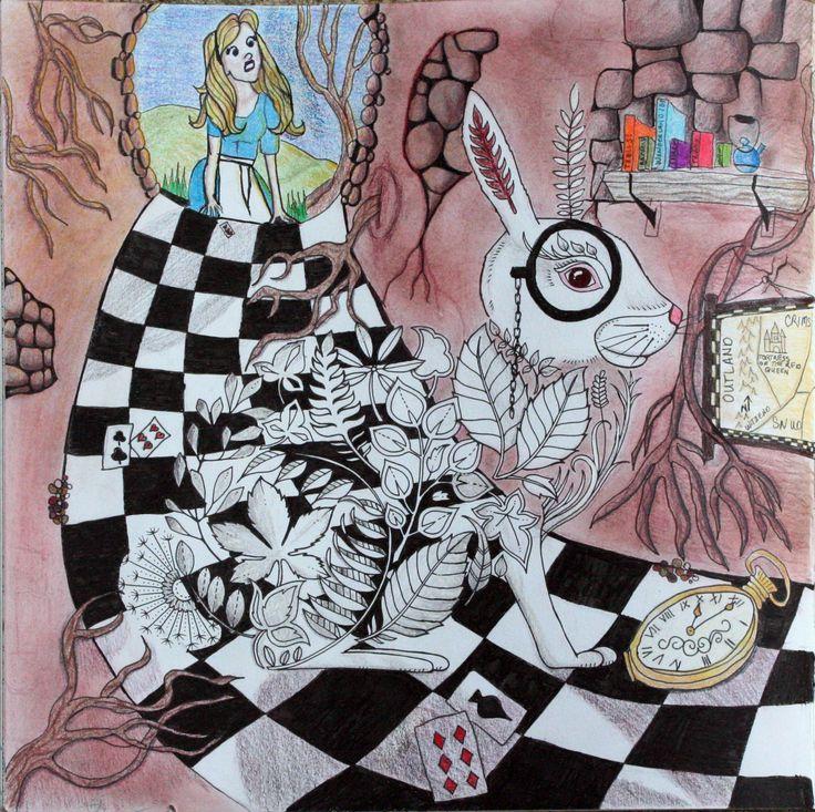 Johanna Basford Coloring Enchanted Forest Alice In Wonderland White Rabbit Prismacolor Nupastels