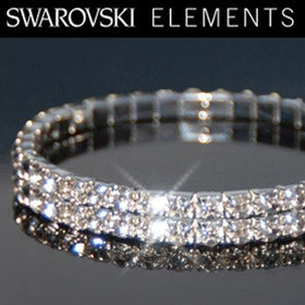 Set of 2 Swarovski Elements Crystal Double Tiered Bracelets