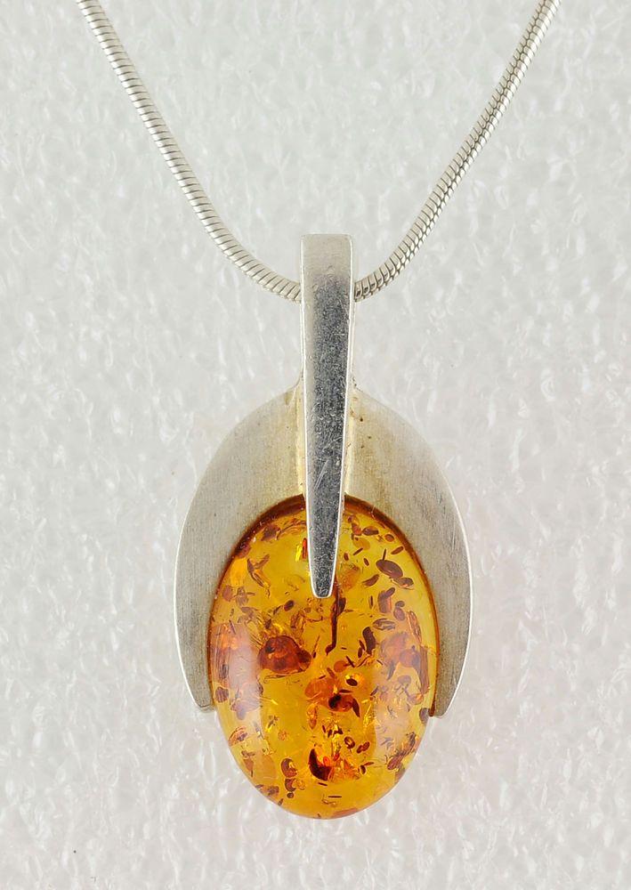 W. Kruk 1840 Orange Amber Modern 925 Sterling Silver Pendant Link Chain Necklace #WKRUK #Pendant