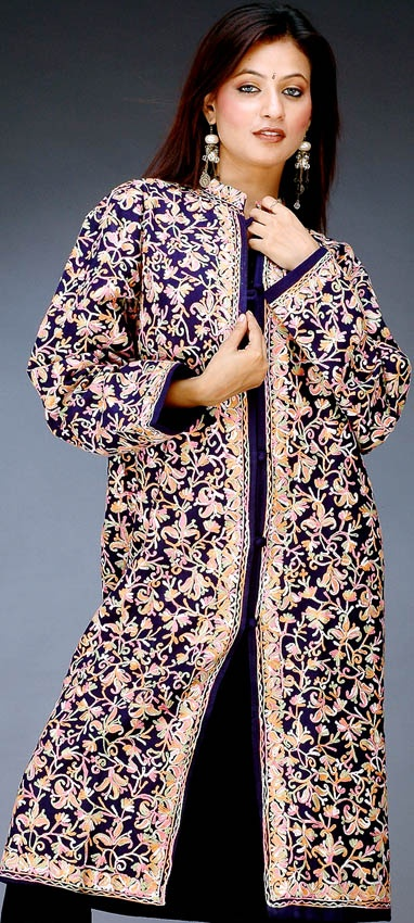 Kashmiri embroidered coat. Take this style of embroidering, make it a LOT less embroidered, longer (Matrix-esque) trench...