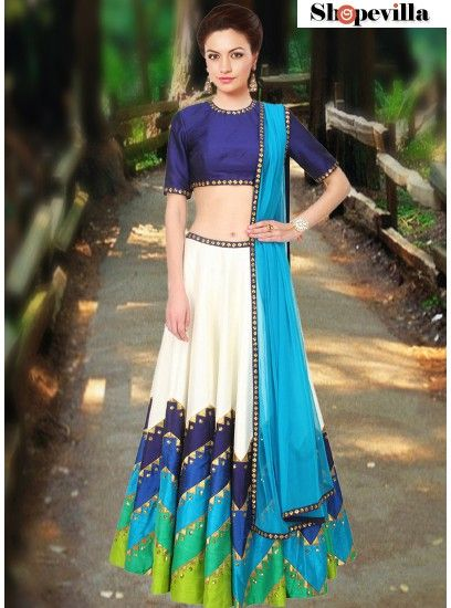 Awesome Navaratri Collection Navy Blue Colour Rawsilk Lehenga Choli-FKFBL066