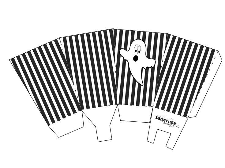 Free printable popcorn box halloween =) Gratis print - DIY - Popcornbeger Halloween GMN spøkelse