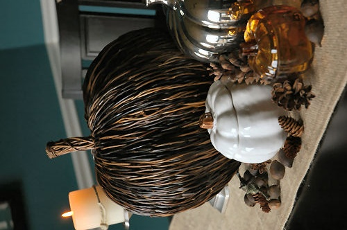 Fall Centerpiece - I love the rustic pumpkin made of branches.