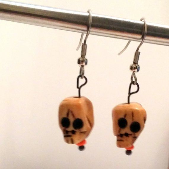 Carved Wooden Skull Earrings Dia De Los Muertos Day Of The Dead