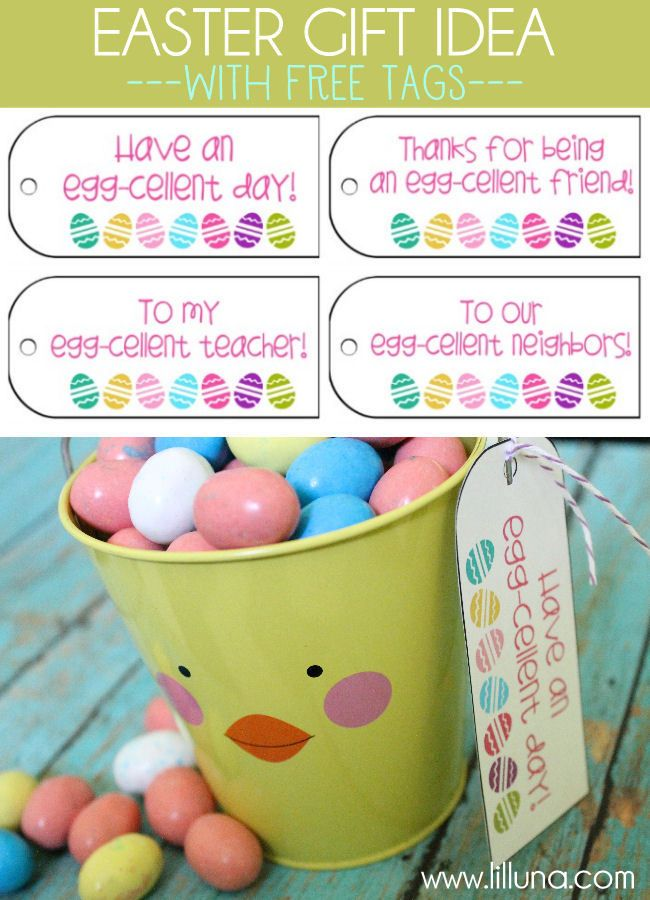 107 best springeaster printables images on pinterest easter super cute easter gift idea with free printable tags lilluna negle Images