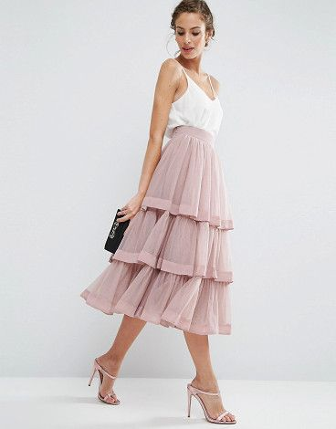 Tulle prom skirt with multi layer and trim by Asos. Skirt by ASOS Collection, Layered tulle, Fully lined, High-rise waistband, Satin trims, Zip-side fastening, Regular f...